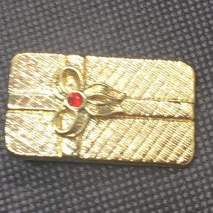 Gold Tone Ruby Like Christmas Present Bow Brooch